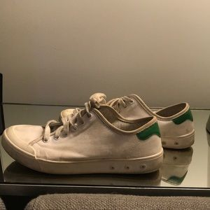 Rag and Bone white gym shoes with green accent
